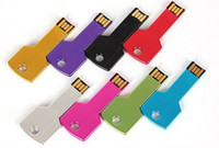 Wholesale Mini Pen Keys - HOT! Custom LOGO Metal Key USB Flash Drive,USB Flash Memory,Promotional mini gift Pen Drive,16GB free shipping 80pcs