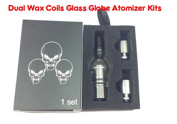 Dual Wax Coil Glass Tank Wax Dry Vaporizer Globe Tank Atomizer Clearomizer Cartomizer for E Cig Electronic Cigarette Kits Clear Color