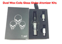 Wholesale E Cig Dual Clearomizer - Dual Wax Coil Glass Tank Wax Dry Vaporizer Globe Tank Atomizer Clearomizer Cartomizer for E Cig Electronic Cigarette Kits Clear Color