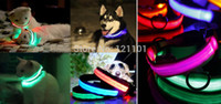 Gros-New collier de dressage de chien réglable LED Collar Nylon Dog Pet Nuit de sécurité LED Light-up Clignotant Glow in the Dark Vert Rouge Bule