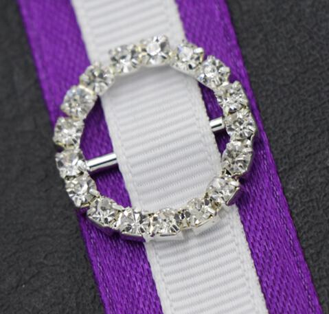 20mm Round Rhinestone Crystal Buckles Brooches 14mm Bar Invitation Ribbon Chair Covers Slider Sashes Bows Buckles