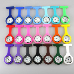 Wholesale Digital Gift Promotion Watch - Promotion Christmas Gifts Colorful Nurse Brooch Fob Tunic Pocket Watch Silicone Cover Nurse Watches 20 Colors Free Shipping 200pcs