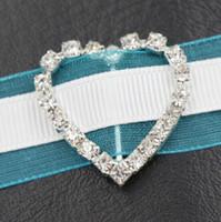 pedrería para invitaciones de boda al por mayor-29 mm corazón rhinestone hebillas 17 mm barra 50 unids / lote caliente invitación cinta Slider boda decoraciones bodas eventos