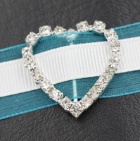 Wholesale Post Heart - 29mm Heart Rhinestone Buckles 17mm Bar 50pcs lot Hot Invitation Ribbon Slider Wedding Decorations Weddings & Events