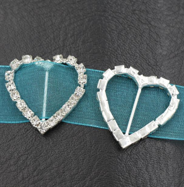 29mm coração strass fivelas 17mm bar 50 pçs / lote convite quente convite fita decorações de casamento decorações de casamentos