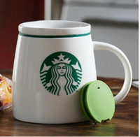 Wholesale Starbucks Bone China Cups - Wholesale-New green mermaid starbucks coffee cups and mugs with cover and handle,14 OZ ceramic travel mug, gift cups