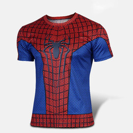 Chinese  2 pieces Black and Red Spider Man Compression Under Base Layer Sports Wear Running T-Shirts Tights Slim Fit manufacturers