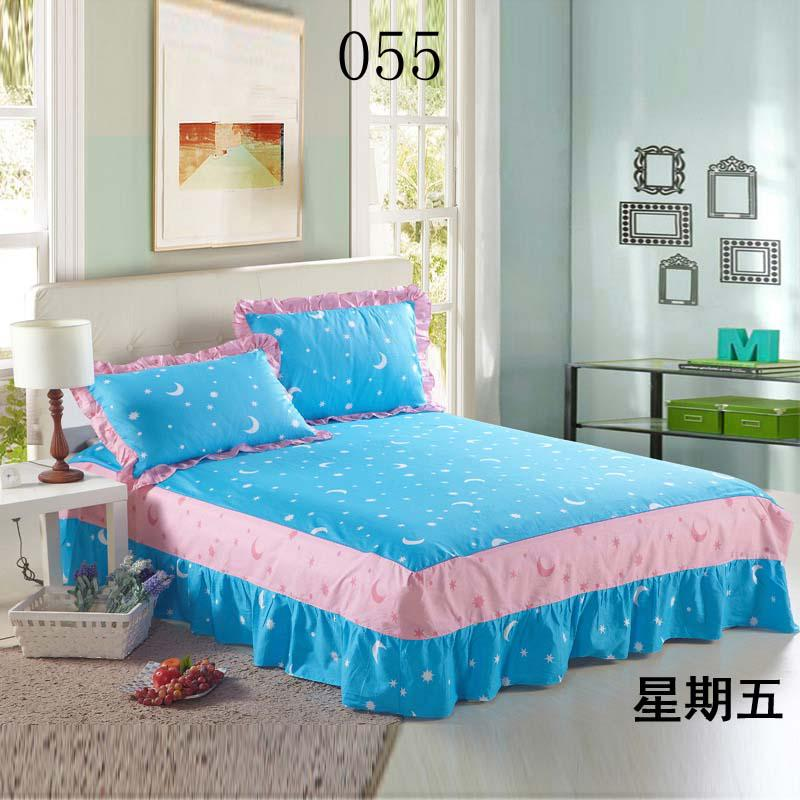 Light Blue Bed Skirt.Sky Blue Bed Skirts Twin Full Queen King Size 100 Cotton Bed Skirts Bedclothes Bedspread Counterpane Bed Sheets Bedding Sky Blue Moon Stars Daybed