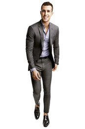 Wholesale Slim Light Grey Wedding Suits - 2014 Slim Fit Groom Tuxedos Light Grey Side Slit Best Man Suit Wedding Groomsman Men Suits Bridegroom Jacket Pants