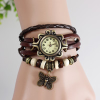 Wholesale Bracelet Butterfly Leather - HOT lady vintage butterfly Women Leather Bronze Vintage Watch bracelet Wristwatches High Quality for Christmas X'mas Day