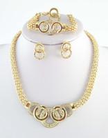 bisutería gruesa collares al por mayor-Envío gratis 18 k chapado en oro Chunky joyería de moda, joyería de fantasía africana conjunto collar moda para mujeres