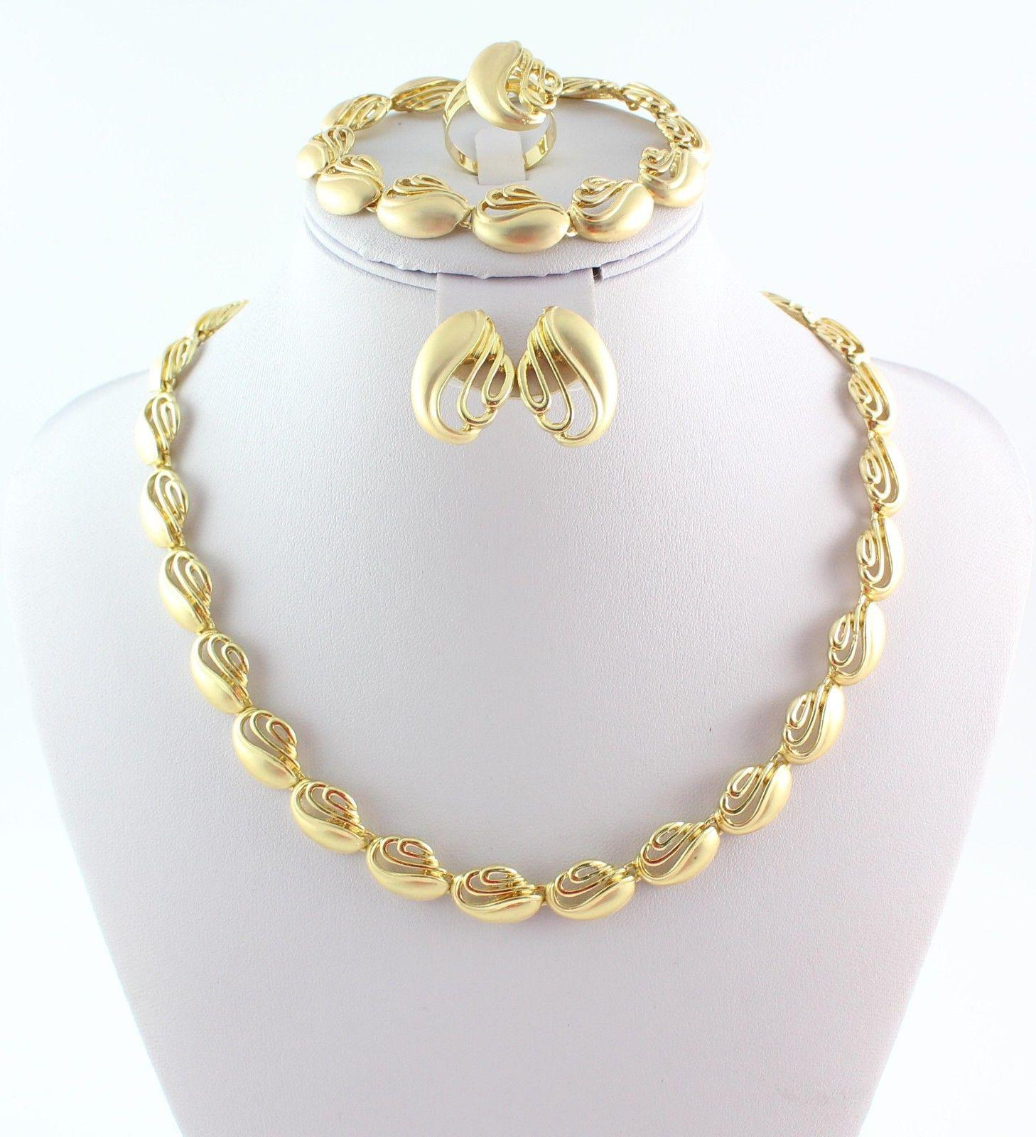 Gold Plated African Costume Jewelry Set Necklace Bracelet Earring