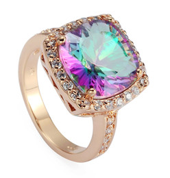 Wholesale best gold rings - Trendy R488 size 6 7 8 9 Rainbow Mystic stone Casual 18KGP Rose Gold Plated RING Best Sellers