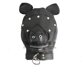 Wholesale Dog Mask Sex - Dog Head PU Sex Hood Mask BDSM Bondage SM Adult Games Cosplay Sex Toys for her HM1009