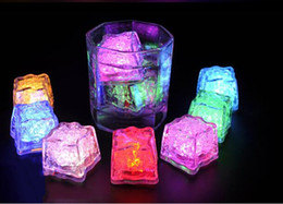 Wholesale multi flashing ice cubes lights - 50pc lot LED Ice Cubes Flash Light,wedding Party light ice,crystal Cube color flash,Christmas gifts