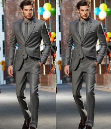 Wholesale Men Grey Dress Pants - Dark Grey Slim Fit Side Slit Two Buttons Notch Lapel Groom Tuxedos Men Suits Man Business Suit (Jacket+Pants+Tie) Formal Dinner Dresses