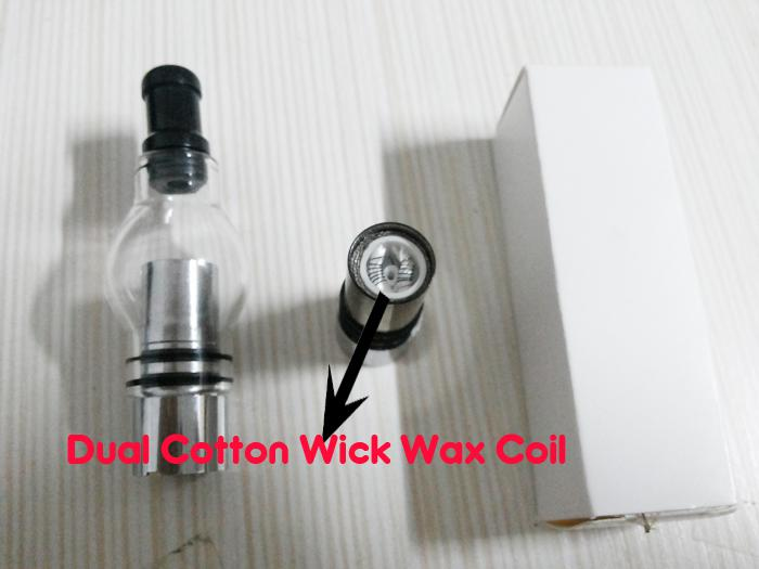 2016 New Dual Wax Coil Atomizer Glass Globe Tank Clearomizer CAX Atomizer for eGo e-cig 650mah 900mah 1100mah battery Electronic Cigarette