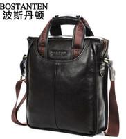 Wholesale Bostanten Briefcase - 2014 new Bostanten hot business mens brand name vintage cowhide Genuine leather men handbag briefcase shoulder bag