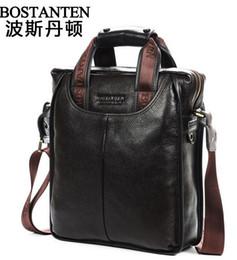 Wholesale Vintage Mens Leather Briefcase - 2014 new Bostanten hot business mens brand name vintage cowhide Genuine leather men handbag briefcase shoulder bag
