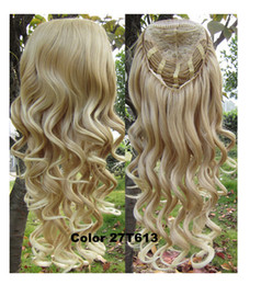 "Wholesale Blonde Mix Half Wigs - 3 4 Half Wig Hair 200g 24"" Long Curly Wig Hairpieces with Comb 27 613 Brown Blonde Wig Hair"