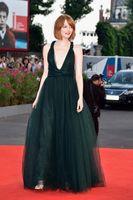 Wholesale Emma Stone - 2014 71th Venice Film Festival Tulle Celebrity Dresses Black Plunging Neckline Sleeveless Criss Cross Straps Hollow Sweep Train Emma Stone