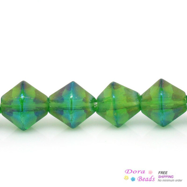 Crystal Glass Loose Beads Bicone Green AB Color 6mm x 6mm,36cm long,5 Strands(54PCs/Strand) (B28290)