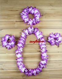 Wholesale Hawaiian Wholesale Flowers - 6 Colors Ladies Beach Party Hawaiian Garland Leis Flower Headband Bracelet Lei Grass Skirt 4pcs Set