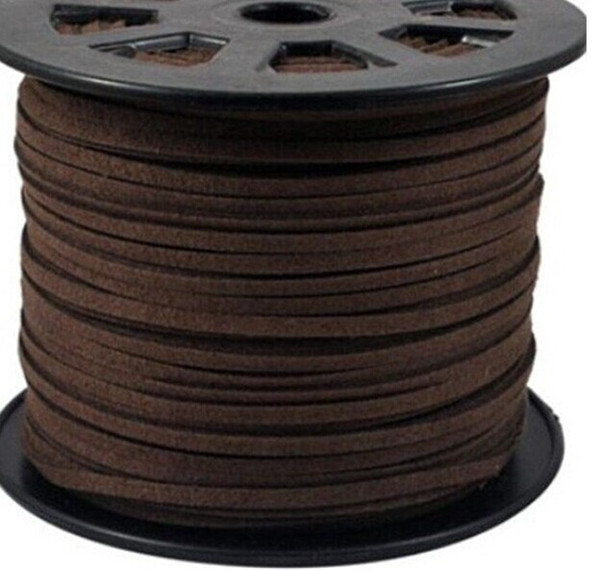 Wholesale - MIC 100Yards Coffee Faux Suede Cord Cords Flat DIY Rope Wires For jewelry Making
