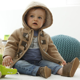 Wholesale Winter Jacket Horn Hooded - Baby Boys Cotton Hoodie Jacket Autumn Winter Long Sleeve Thicken Horn Button Coat Child Clothes Outwear Jacket Gray Brown 5pcs lot K1038