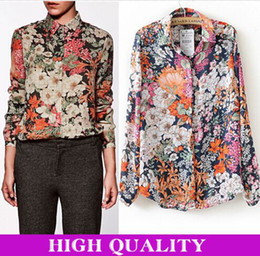 Wholesale Vintage Sequin Cardigan - blusas femininas 2014 women blouse camisas vintage flower print sequin collar blouses cardigan casual shirt women chiffon blusas