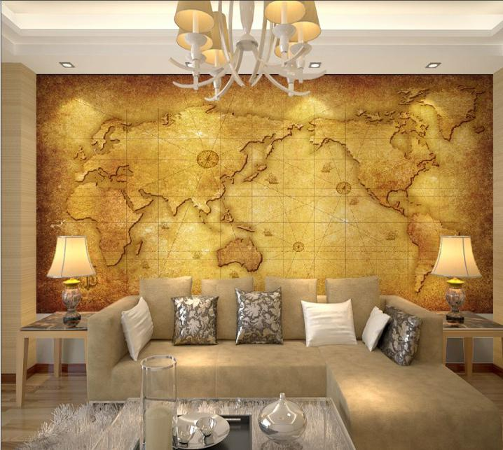 Luxury embossed mural photo world map wallpaper tv sofa background see larger image gumiabroncs Image collections