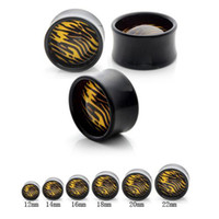 Wholesale Cheap Ear Stretching - Body Jewelry Yellow Leopard Print Cheap Ear Tunnels And Plugs Acrylic Ear Stretching Kits Gauges Expander Body Piercing Jewelry 12PCS