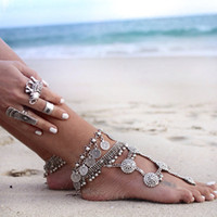Wholesale Ethnic Anklets - Flower Child Silver Coin Anklet Adjustable Handmade floral design Boho Gypsy Beachy Ethnic Tribal Festival Jewelry Turkish Bohemian