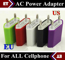 Wholesale Multi Plug Adapter Usb - CHpost 20PCS AC Power Adapter US Plug USB Wall Travel Charger US EU Adapter for iphone 4 5 5S for Samsung Galaxy Cellphones Multi-color JE4