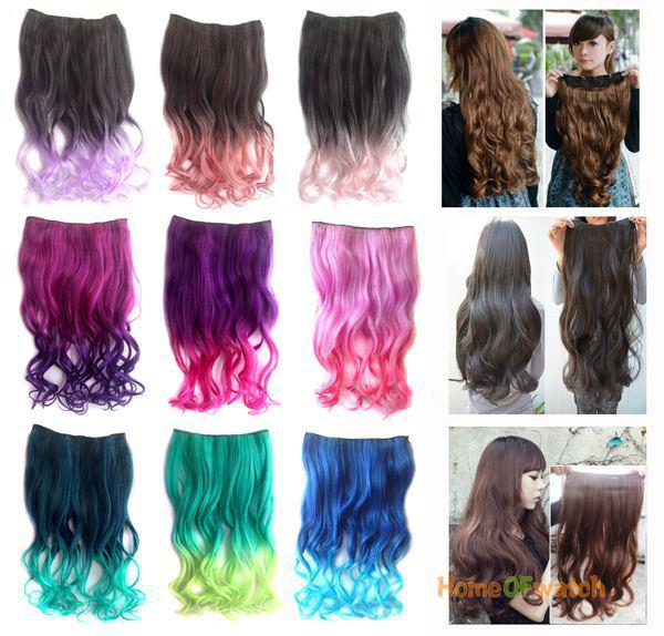 Long Curly Hair Extension Multi Colored Nwg0he60814 Premium Remy