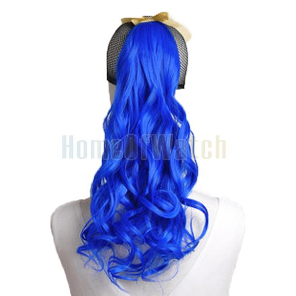 Natural Synthetic Dark Blue Curly Ponytail Hair Extensions