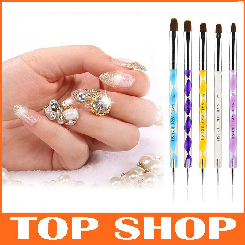 2 Ways Steel Dotting Marbleizing Pen Nail Art Decoration Manicure ...