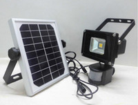 Wholesale Solar Power Led Flood - promotion 10W Solar powered LED Flood light with PIR Motion sensor garden Security path wall lamp outdoor led spot lighting