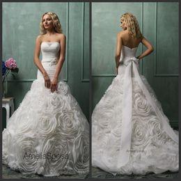 Wholesale Custom Design Waist Sashes - 2016 Fall Unique Design Bridal Wedding Gowns Amelia Sposa Organza Strapless Zipper Back Beaded Bow Sash Flower Bottom Drop Waist Dresses