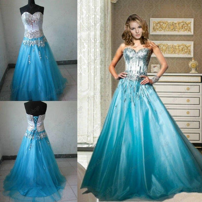 Shiny Sequined Bodice Ball Gown Prom Debutante Dresses Light Sky ...