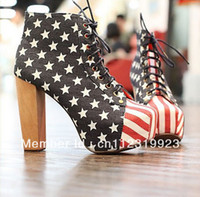 Wholesale American Platform - Wholesale-Free shipping fashion American flag Martin boots for women shoes woman 2013 high heel platform pumps ankle booties SXZ05117