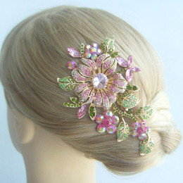 "$enCountryForm.capitalKeyWord Canada - 4.72""Tiara Gorgeous Orchid Flower Hair Comb w Pink Rhinestone Crystal FSE04712C2"