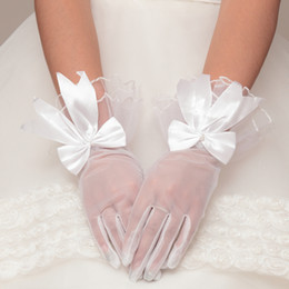 Wholesale Full Fashioned Stockings - 2017 Fashion Spring Bow Bridal Gloves Tulle Satin White Color Gloves Piping In Stock Bridal Accessories