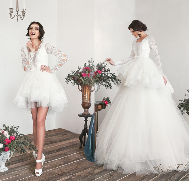2014 Vintage Wedding Dresses Short Lace Puffy Ball Gown V Neck ...