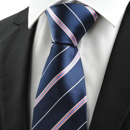 Wholesale Hot Pink Neck Tie - Hot sale Neck Ties Pink White Striped Navy Blue JACQUARD Men's Tie Necktie Business Trip Gift #0009