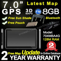 Wholesale Bluetooth Av Mp4 - 2015 Newest Model 7'' HD car gps navigation System with 8G,BT,AV IN,FM+Wiresless reverse camera+Free 3D maps+Free Gifts+2 Years Warranty