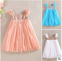Wholesale Tutu Fedex - DHL EMS FEDEX ARMAE FREE Girls Dress Summer Pleated Sequin Princess Tulle Performance Dresses Girl Children Cloth White Blue Pink K1051