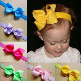 Wholesale Newborn Girls Tiara - Infant Bow Headbands Girl Flower Headband Children Hair Accessories Newborn Bowknot Flower Hairbands Baby Photography Props 20colors 20pcs