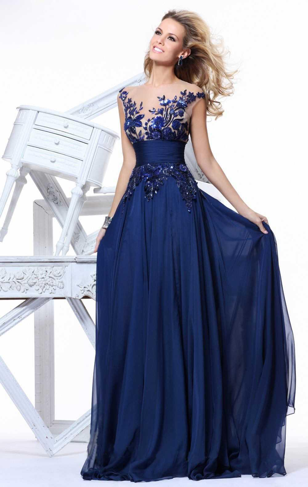 Hot Prom Dresses Royal Blue Cheap Fashion Boat Neck Lace Beaded ...