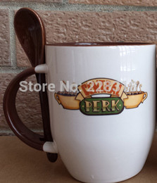 Wholesale China J - Wholesale-New Quality Six Friends R-C-J-M-R-P Central Perk Ceramic Coffee Mug Cup With Spoon Coffee Color ---Loveful